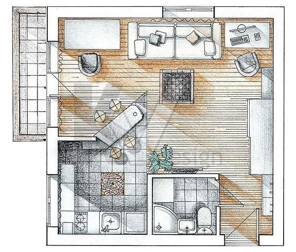 Перепланировка однокомнатной квартиры в 2020 - Башня Вулыха, в хрущевке